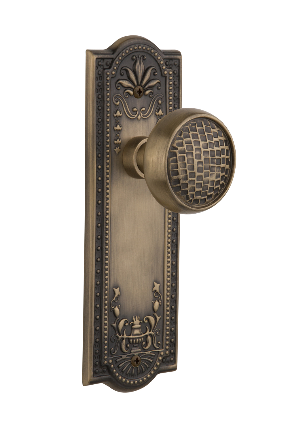 Mortise Nostalgic Warehouse Meadows Plate with Keyhole Craftsman Knob Antique Pewter