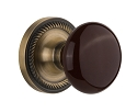 Nostalgic Warehouse Rope Rosette with Brown Porcelain Knob - Mortise Lock