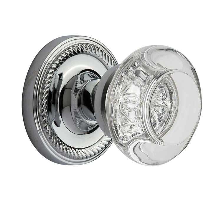 Nostalgic Warehouse Rope Rosette with Round Clear Crystal Knob - Mortise Lock