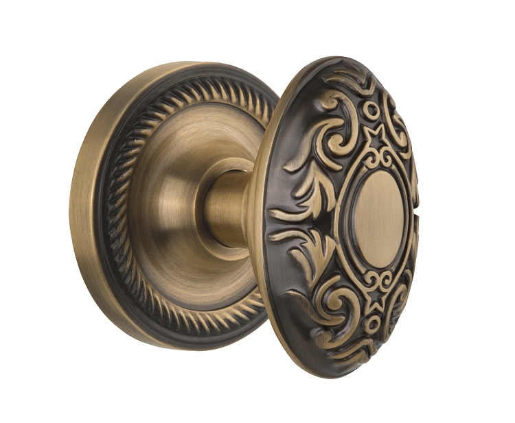 Nostalgic Warehouse Rope Rosette with Victorian Knob - Mortise Lock