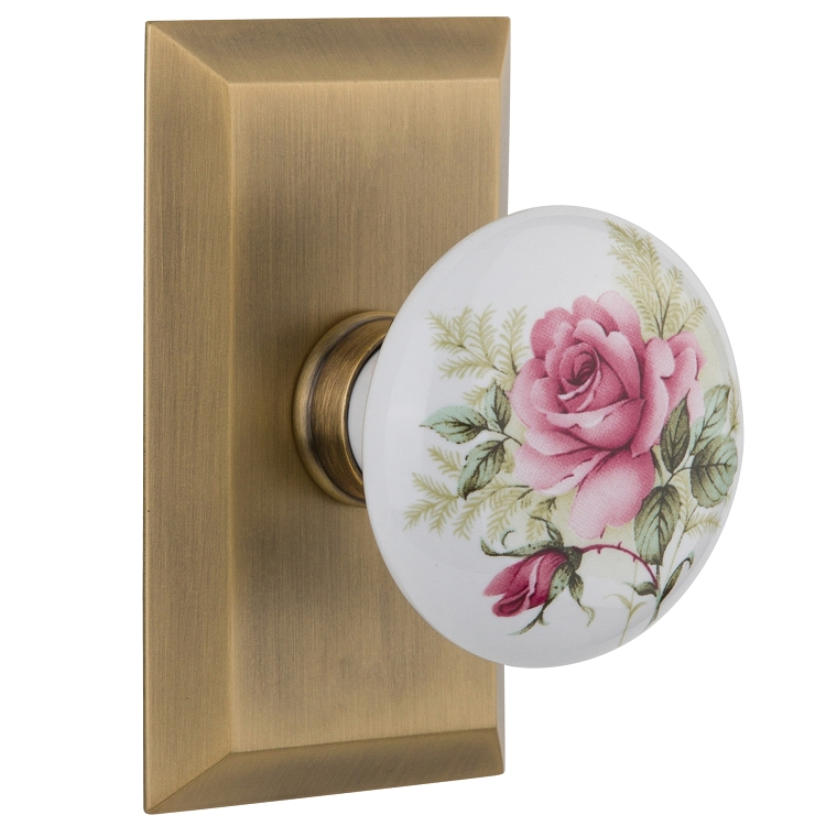 Nostalgic Warehouse Studio Plate with White/Rose Porcelain Knob
