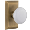 Nostalgic Warehouse Studio Plate with White Porcelain Knob