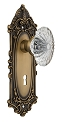 Nostalgic Warehouse Victorian Plate with Oval Fluted Crystal Knob - Mortise Lock