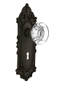 Nostalgic Warehouse Victorian Plate with Round Crystal Knob - Mortise Lock