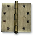 Omnia Square Corner 4.5 Inch Solid Brass Plain Bearing Door Hinges (each)
