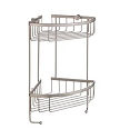 Smedbo Sideline Collection Design Corner Double Level Basket - Brushed Nickel