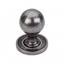 Top Knobs Britannia M50 Paris Knob Smooth 1 1/4 Inch With Backplate- Cast Iron