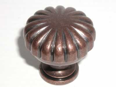 Top Knobs Somerset Melon Cut 1 1/4 Inch Cabinet Knob - Antique Copper