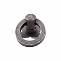 Top Knobs Normandy 1 3/16 Inch Small Smooth Ring Pull w/backplate - Pewter