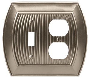 Amerock Sea Grass Toggle & Plug Combo Wall Plate - Satin Nickel