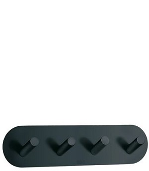 Beslagsboden Design Self-Adhesive Rounded Base Quadruple Hook - Flat Black