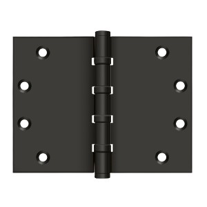 Deltana 4 1/2 x 6 Inch Solid Brass Square Corner Standard, Ball Bearing Hinge - Pair