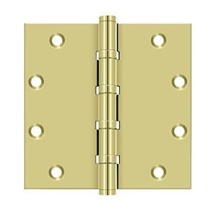 Deltana 5 x 5 Inch Solid Brass Square Corners 4 Ball Bearings Hinge - Pair