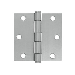 Deltana 3 1/2 x 3 1/2 Inch Stainless Steel Square Corner Residential Hinge - Pair