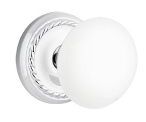 Emtek Ice White Knob with Rope Rosette