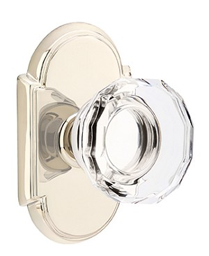 Emtek Lowell Crystal Knob with Style 8 Rosette