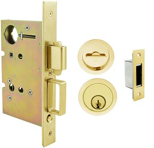 Inox PD8450 Mortise Pocket Door Entry Lockset, FH22 Round Flush Pull