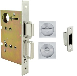 Inox PD8440 Mortise Pocket Door Privacy Lockset, FH23 Square Flush Pull
