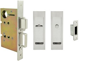 Inox PD8440 Mortise Pocket Door Privacy Lockset, FH27 Linear Flush Pull