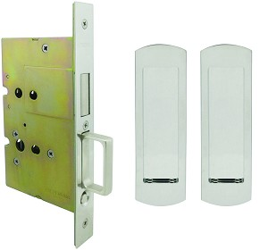 Inox PD8115 Mortise Pocket Door Passage w/ Lockcase as Dust Proof Strike, FH29 Linear Flush Pull