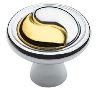 Amerock Polished Chrome/Brass Ying Yang Cabinet Knob