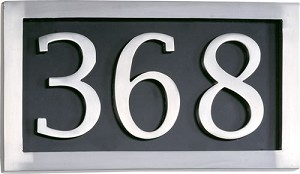 Brass Accents 3 Letter Satin Aluminum Address Plaque