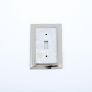 Century Single Toggle Switchplate - White Mother of Pearl/Polished Nickel