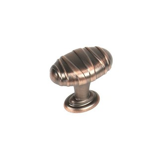 Century Mackinac Oval Knob in Antique Bronze with Copper