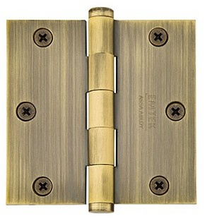 Emtek 3.5 Inch Solid Brass Residential Duty Door Hinges with Square Corners (pair)