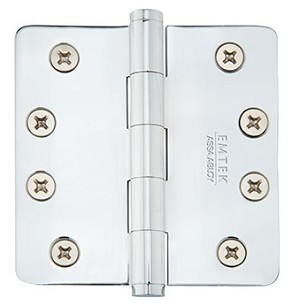 Emtek 4 Inch Solid Brass Residential Duty Door Hinges with 1/4 Inch Round Corners  (pair)