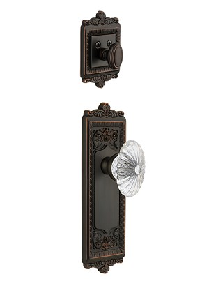 Grandeur Windsor Handleset with Burgundy Knob - (Interior Half Only, with Deadbolt)