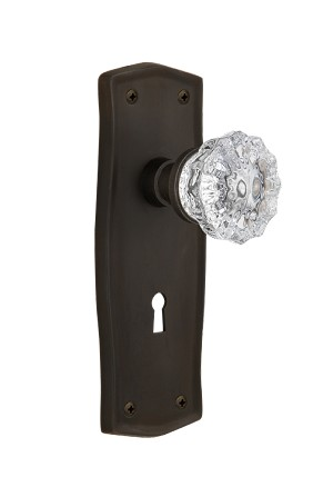 Nostalgic Warehouse Prairie Plate with Crystal Knob - Mortise Lock