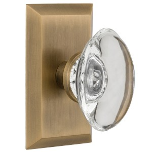Nostalgic Warehouse Studio Plate with Oval Clear Crystal Knob