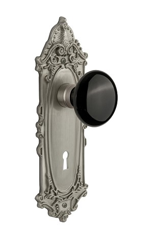 Nostalgic Warehouse Victorian Plate with Black Porcelain Knob - Mortise Lock