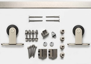 Sure-Loc 96 Inch Track Top Mount Barn Door Track System - Satin Nickel