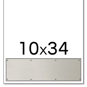 Trimco 10x34 Satin Stainless Steel Kickplate with Countersunk Holes and Heavy Beveled Edge