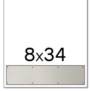 Trimco 8x34 Satin Stainless Steel Kickplate with Countersunk Holes and Heavy Beveled Edge